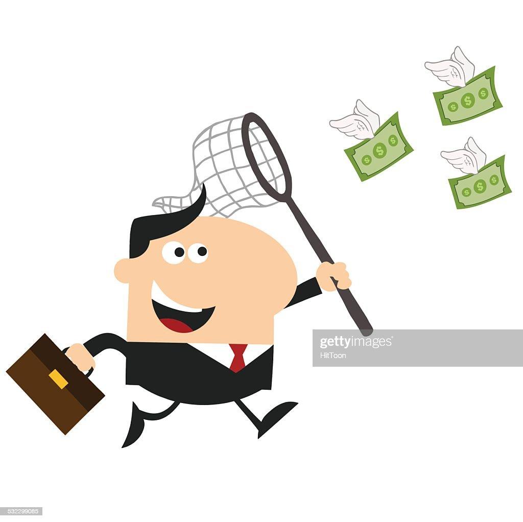 Businessman Chasing Money Flat Design