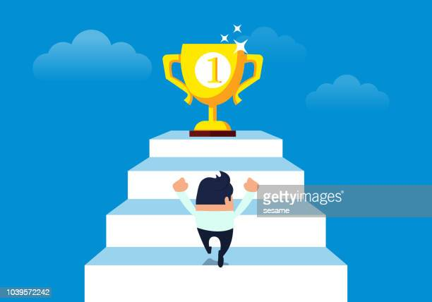 businessman chasing trophy - pursuit concept stock illustrations