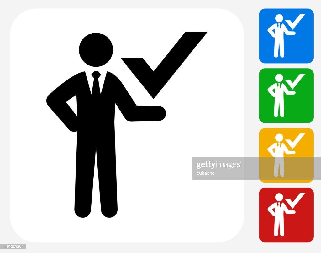 Businessman Check Mark Icon Flat Graphic Design