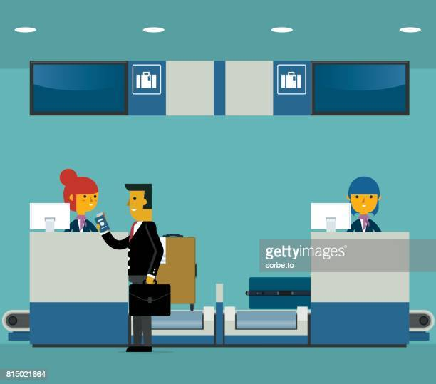 businessman checking in counter airport - airport terminal stock illustrations, clip art, cartoons, & icons