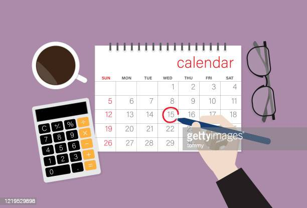 businessman choose a date on a calendar - routine stock illustrations