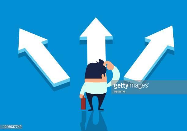 ilustraciones, imágenes clip art, dibujos animados e iconos de stock de hombre de negocios elige dirección - uncertainty