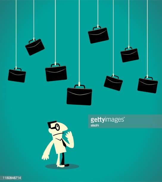 businessman choosing briefcase (job) - job fair stock illustrations