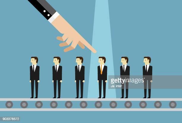 Businessman choosing worker