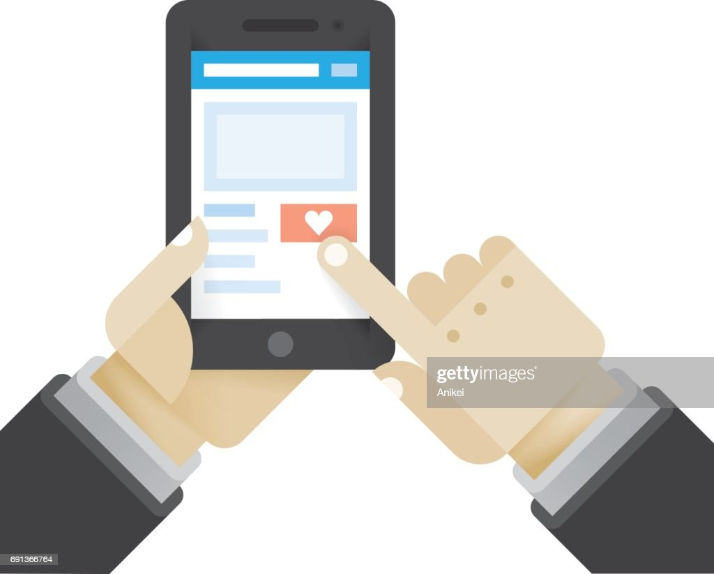 Businessman click love social network button holding mobile phone. Idea - New chat messages, article feedback appreciations, social networking in modern business negotiations.