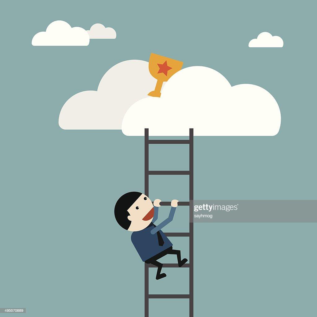 Businessman climb of stair