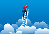 Businessman climbed the clouds to see the distance
