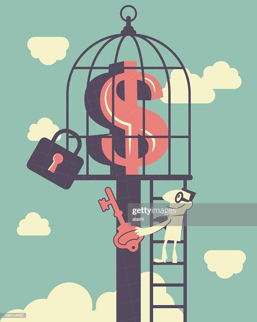 Businessman climbing ladder, holding key, money symbol inside of birdcage : Vector Art