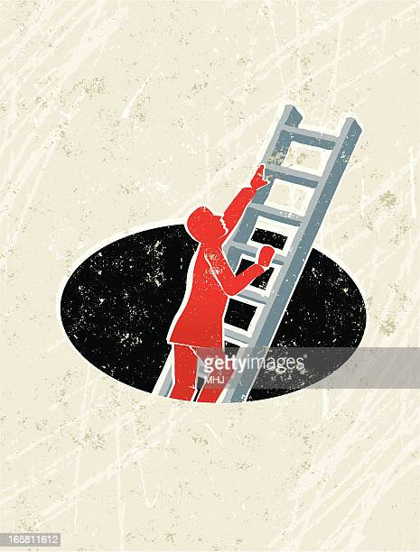 businessman climbing ladder out of a hole - hole stock illustrations