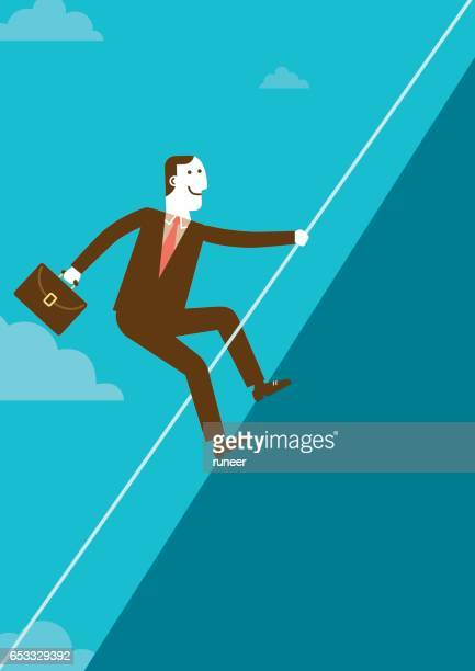 businessman climbing mountain with rope | new business concept - steep stock illustrations, clip art, cartoons, & icons