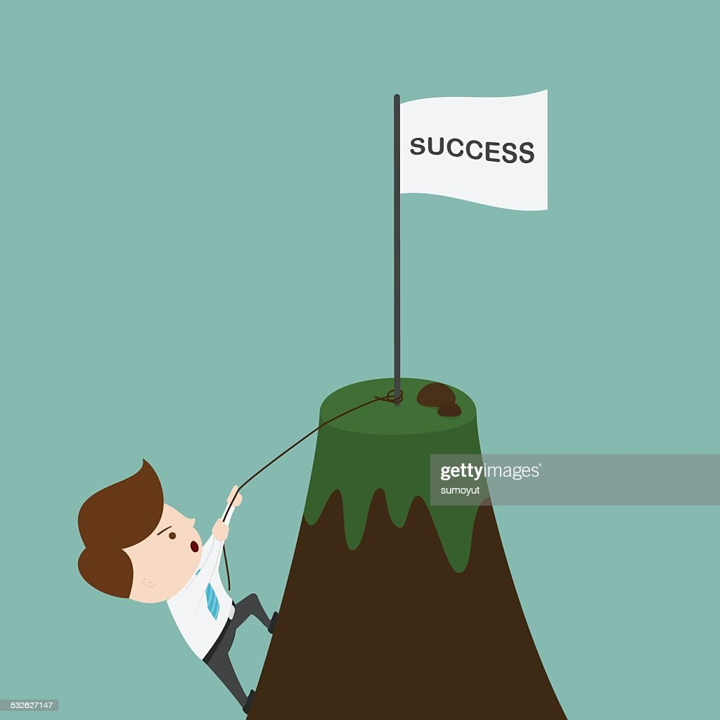 Businessman climbing on the mountain.