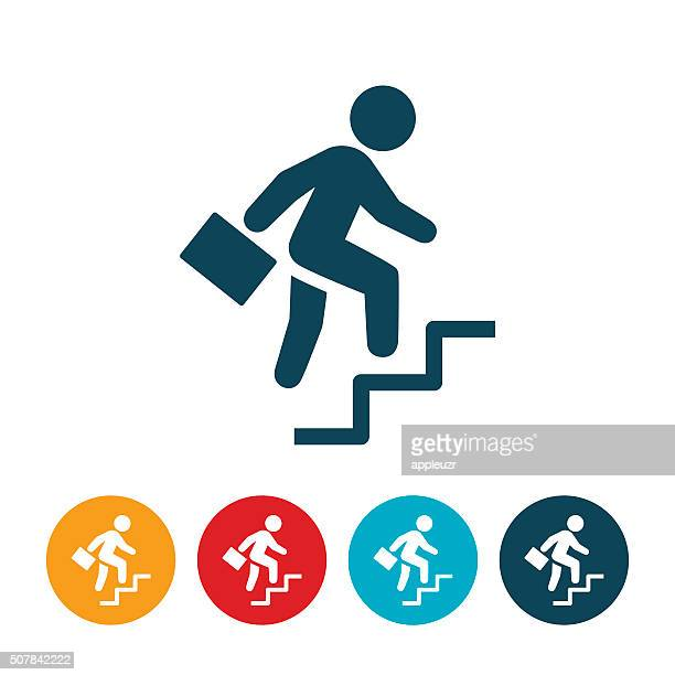 businessman climbing steps icon - moving up stock illustrations