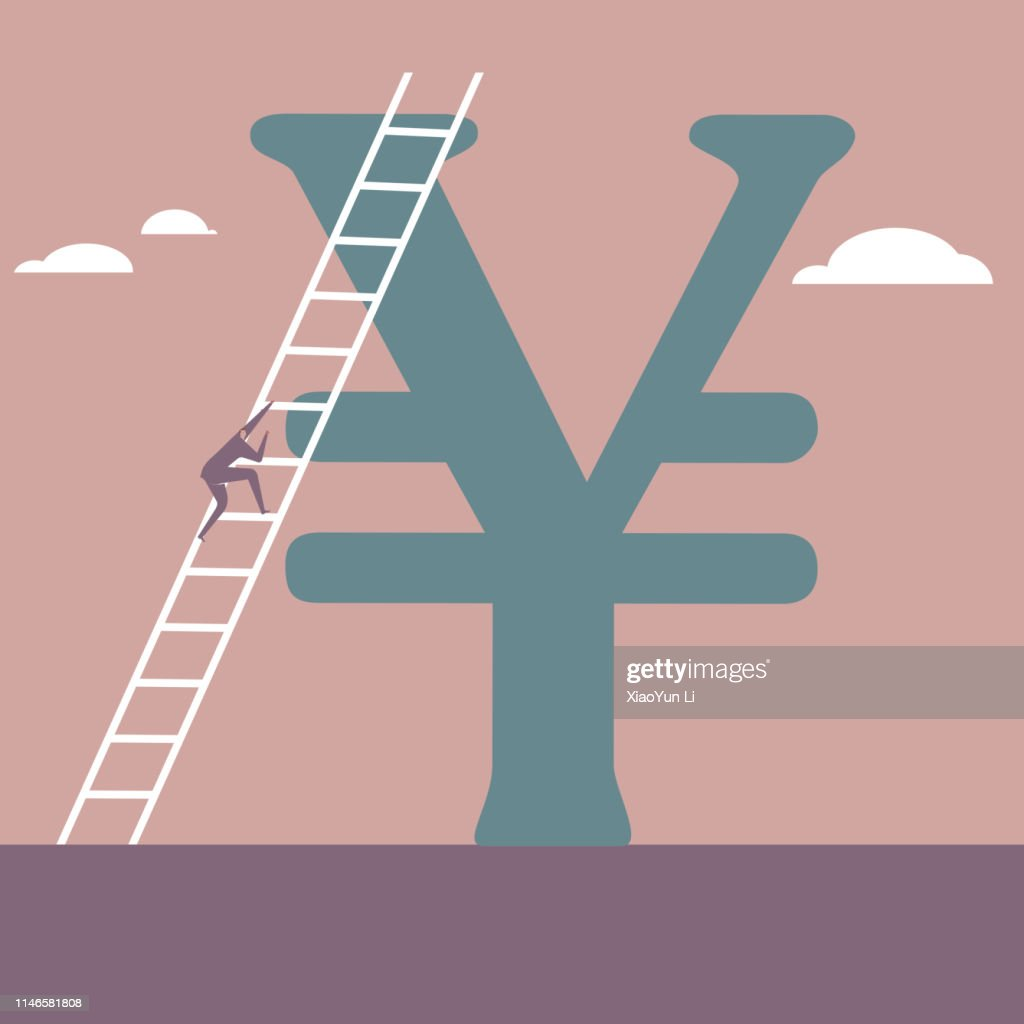 Empresario trepando el signo de China Yuan usando una escalera. : Ilustración de stock