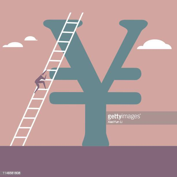 Businessman climbing the china yuan sign using a ladder.