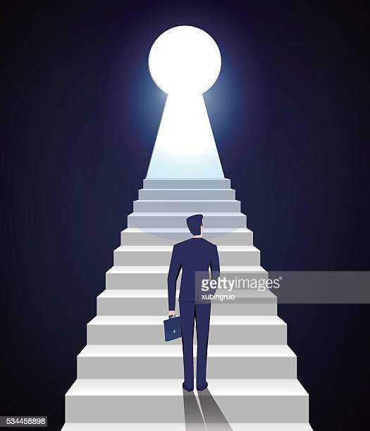 businessman climbing - keyhole stock illustrations, clip art, cartoons, & icons