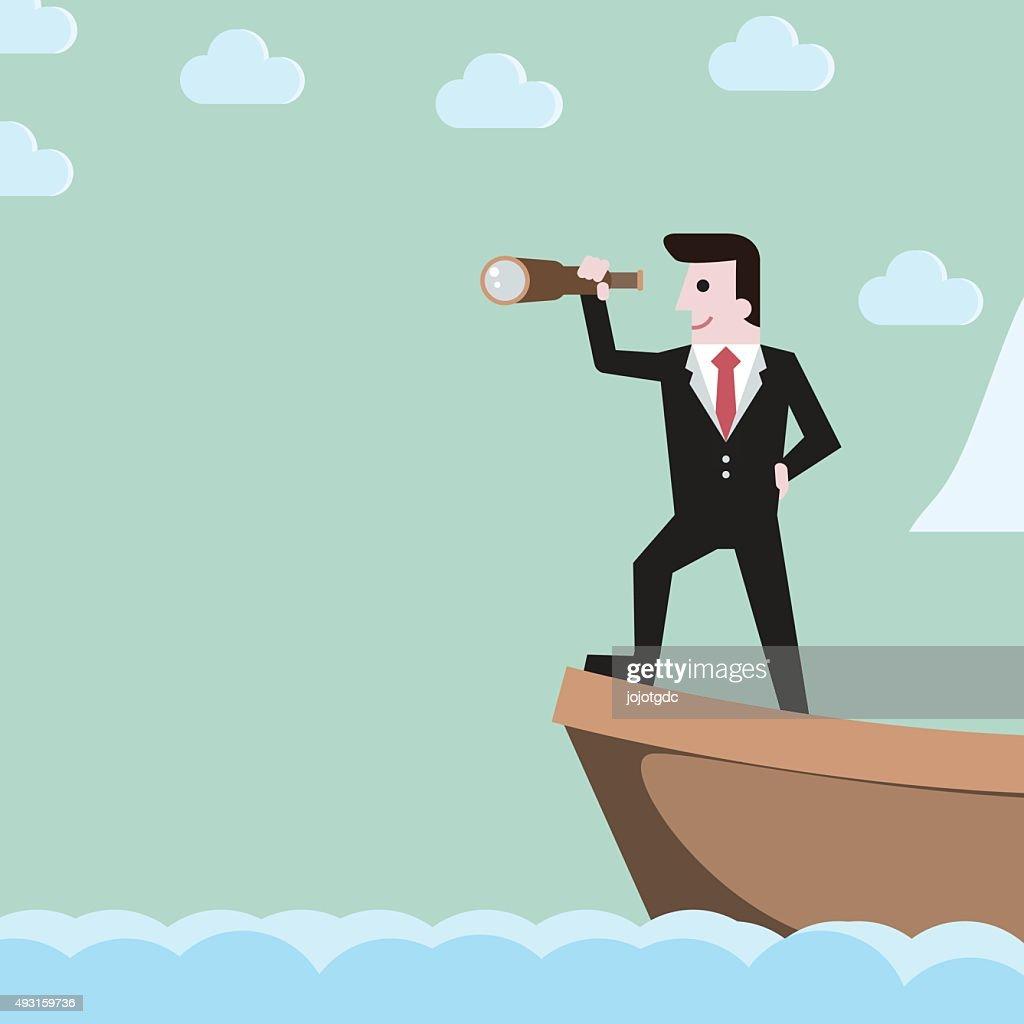 Businessman close up holding spyglass sailing  on boat , busine