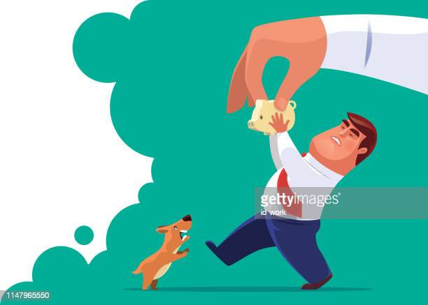 businessman competing piggy bank with big hand - dragging stock illustrations