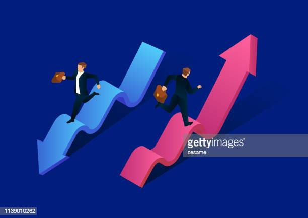 businessman competing, running up and running down - moving down stock illustrations