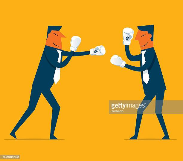 businessman competition - fighting stance stock illustrations, clip art, cartoons, & icons