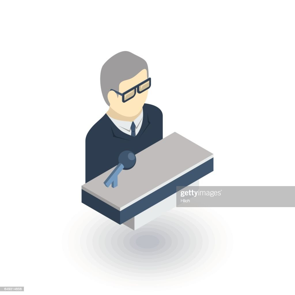 businessman, conference, presentation, isometric flat icon. 3d vector