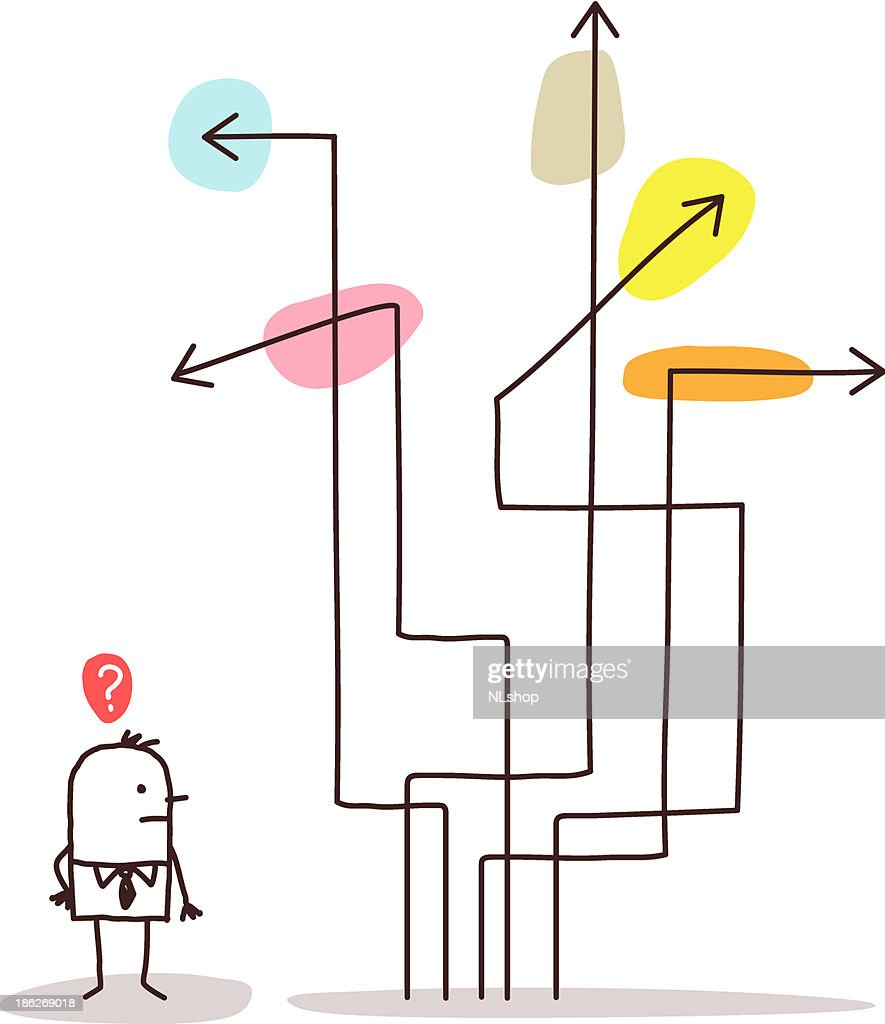 Businessman Confused About Directions Arrows