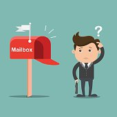Businessman confused with Empty mailbox - vector illustration