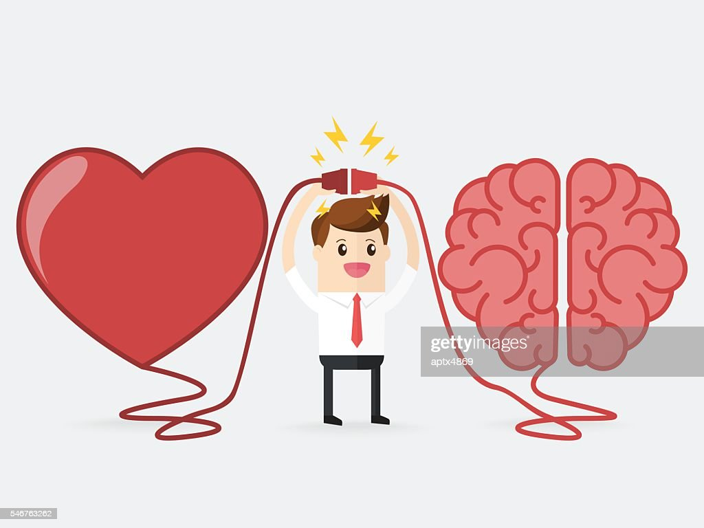 businessman connecting brain and heart interactions concept best teamwork