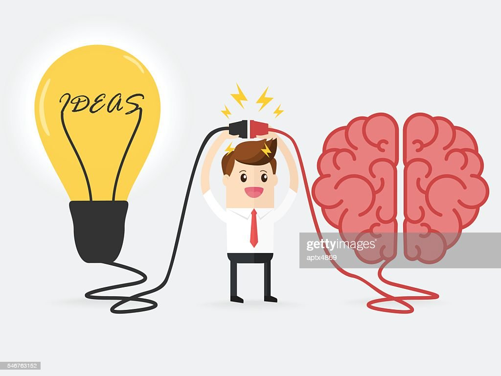 businessman connecting brain and powerful ideas interactions concept best teamwork