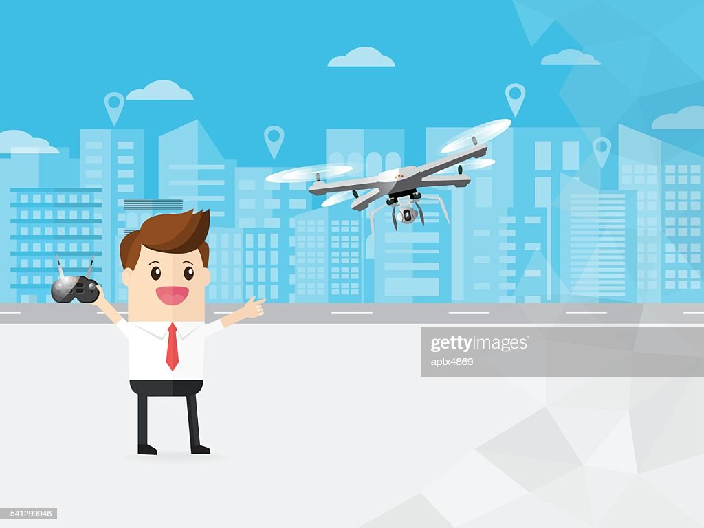 businessman control modern drone with camera flying in the sky