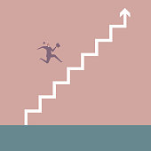 Businessman crosses the ladder arrow.