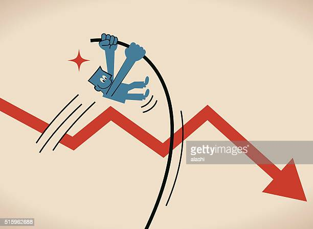 businessman crossing downfall arrow with the pole vault (pole-vaulting, jump) - pole vault stock illustrations