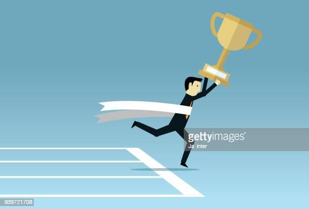 businessman crossing finish line - glühend stock illustrations