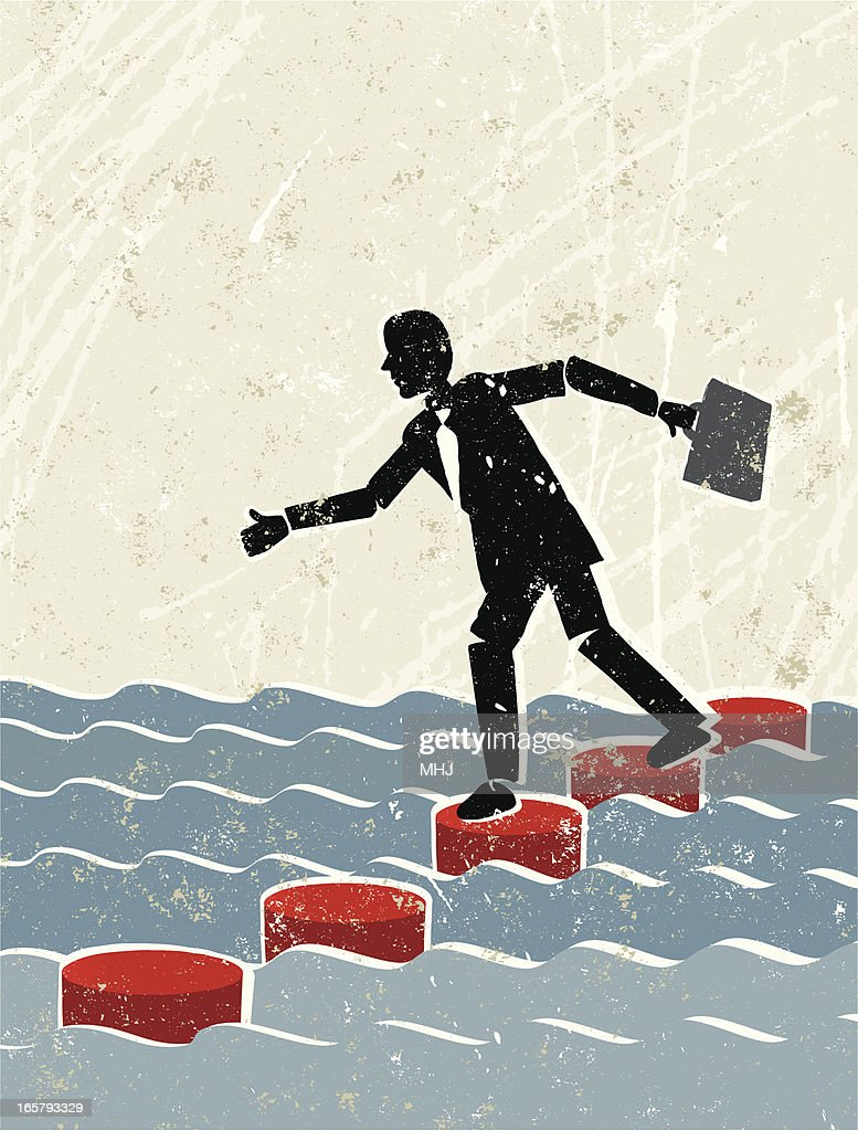 Businessman Crossing Water Using Stepping Stones