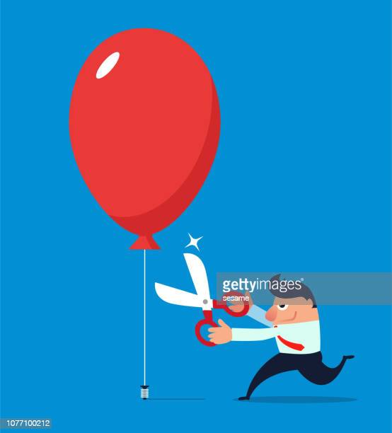businessman cuts the balloon fixed on the nail with scissors - tied up stock illustrations