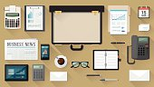 Businessman desktop with briefcase