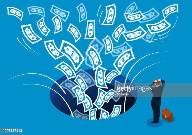 businessman desperately watching money being sucked into dark hole - hoarding concept stock illustrations