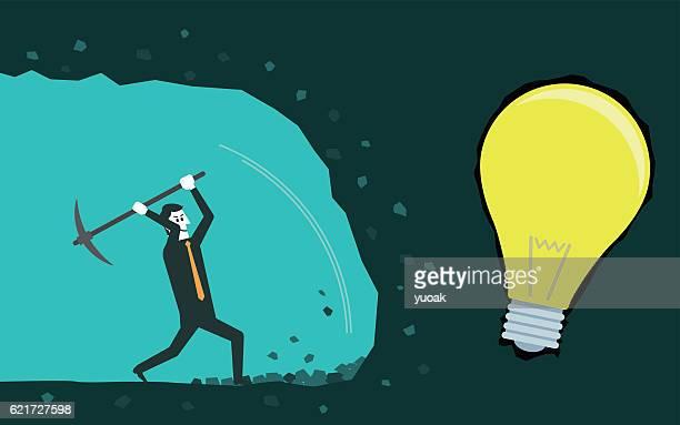 Businessman digging to find idea.