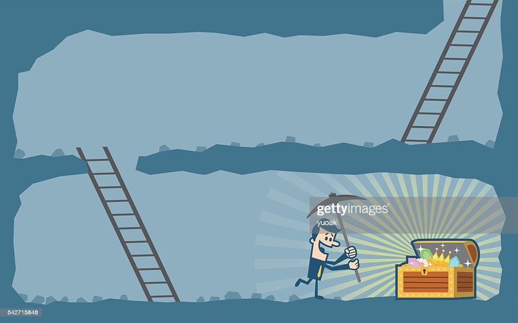 Businessman digging to find treasure : stock illustration