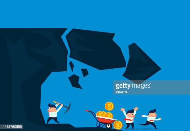 businessman digs a mountain landslide - crag stock illustrations, clip art, cartoons, & icons