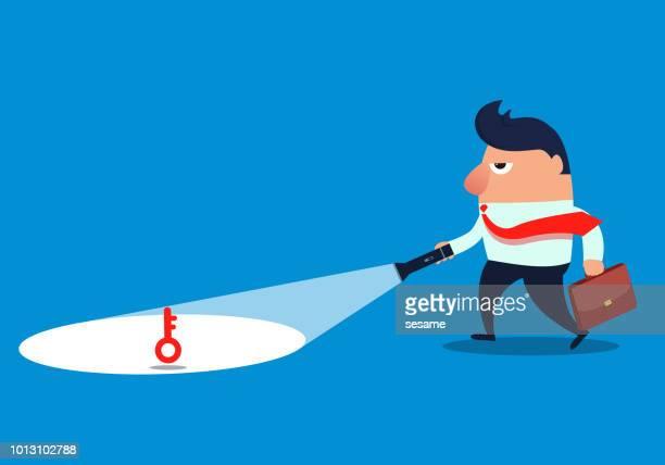 businessman discovering the key with a flashlight - flashlight beam stock illustrations, clip art, cartoons, & icons
