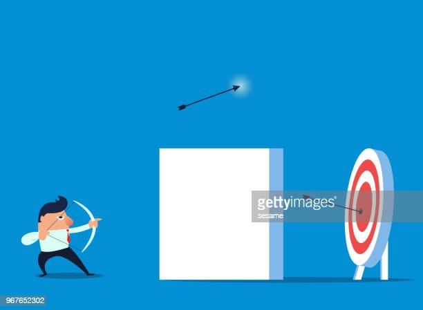businessman doing obstacle shooting training - blinds stock illustrations, clip art, cartoons, & icons