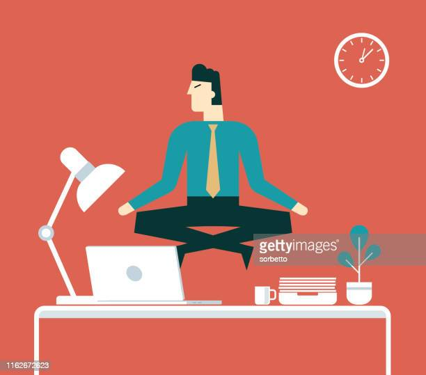 businessman doing yoga to calm down the stressful emotion - businesswear stock illustrations