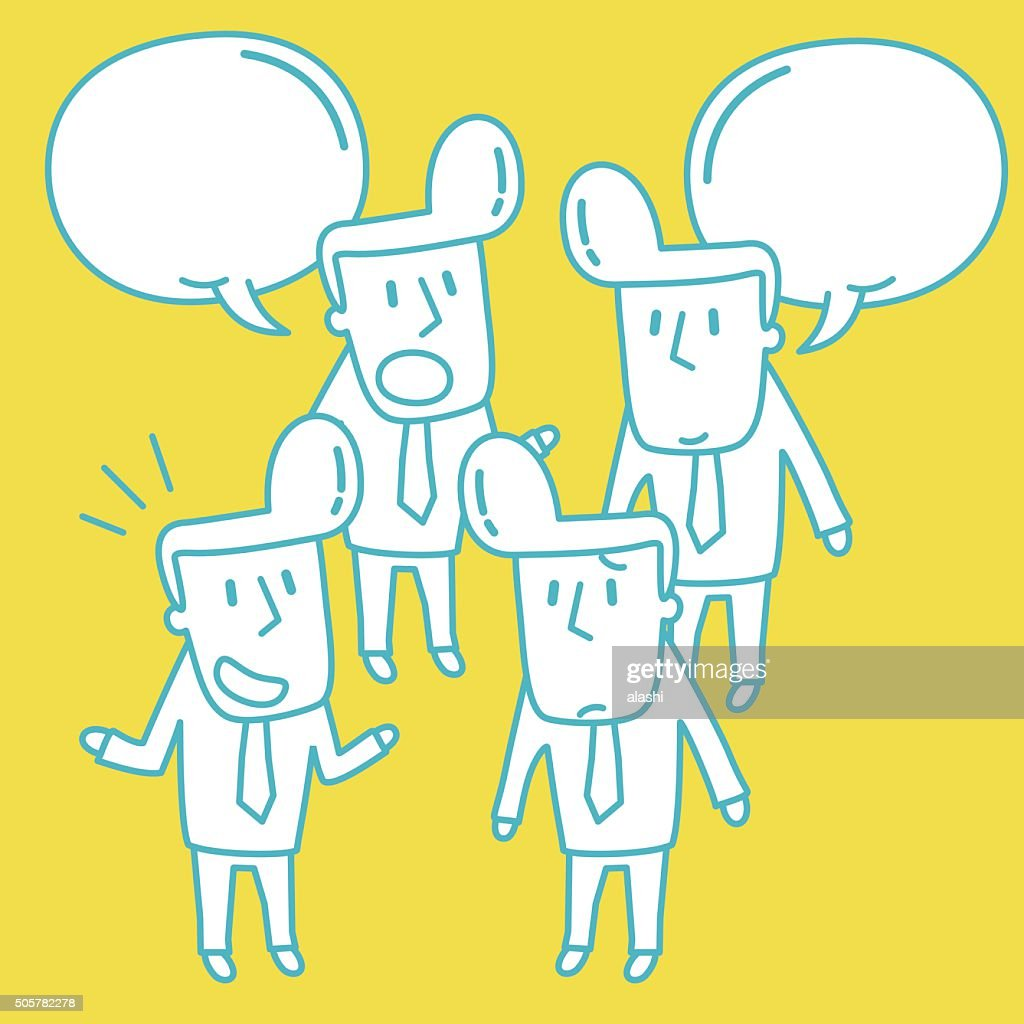 businessman doodle emotion talking smiling angry sad isolate vector