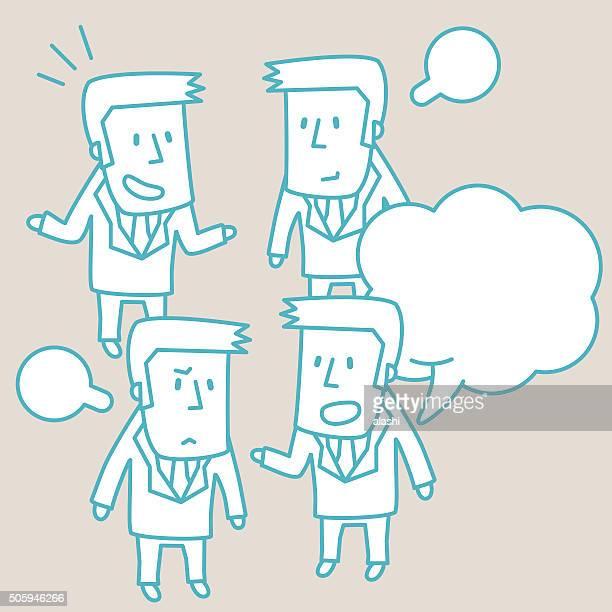 Geschäftsmann Doodle Emotion, reden, Lächeln, wütend, traurig, Isolieren