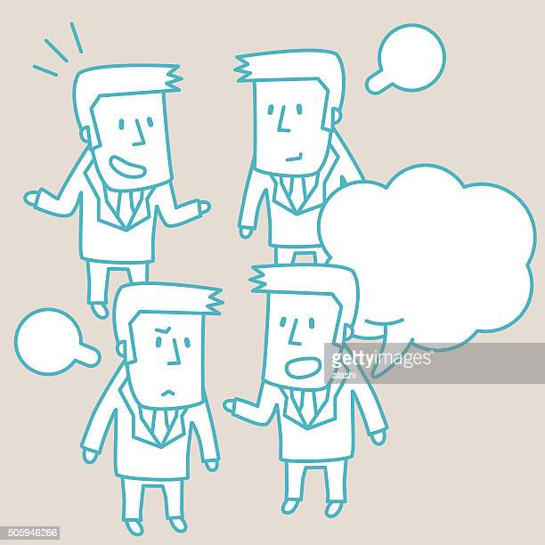 Businessman Doodle Emotion, Talking, Smiling, Angry, Sad, Isolate