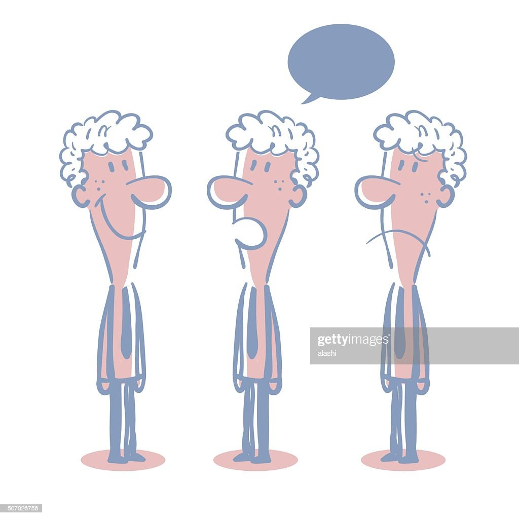 businessman doodle emotion talking smiling angry sad vector art