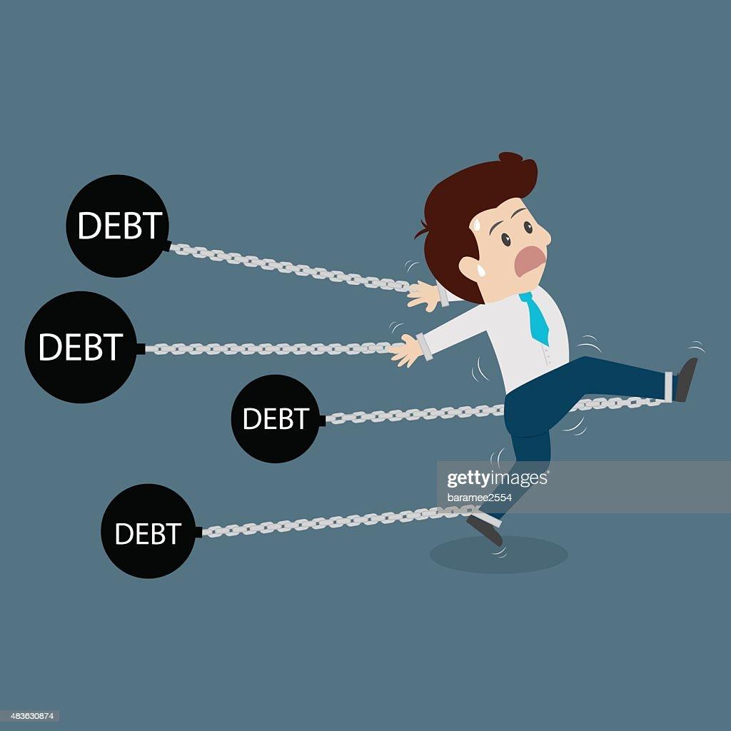 Businessman dragging a debt.