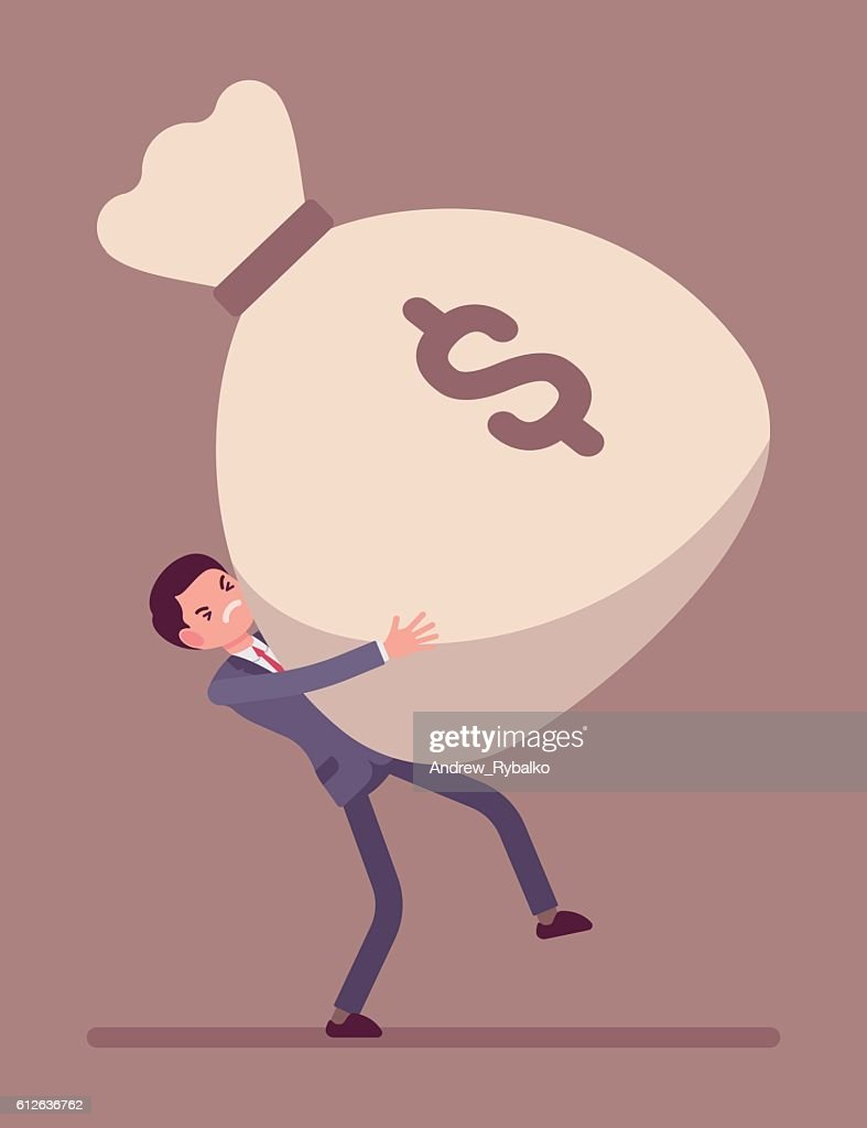 Businessman dragging a giant money sack