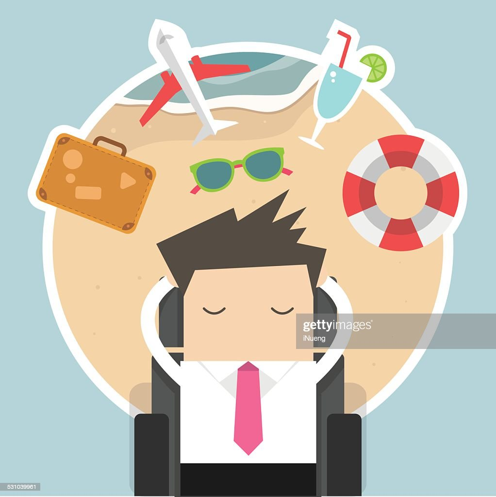 Businessman dreaming about his vacation
