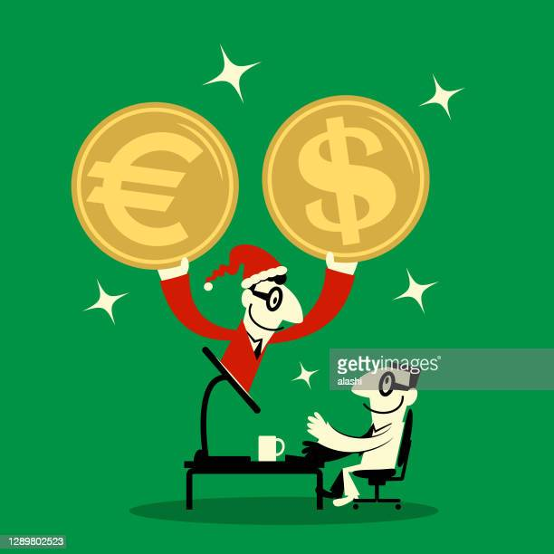 businessman dressed in a santa claus suit showing up on computer monitor and sending us dollar and european union currency to a man - christmas cash stock illustrations